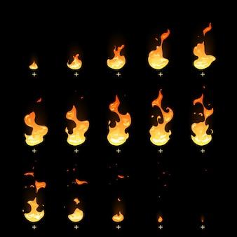 Insieme del fumetto dello strato di sprite di animazione della presa del fuoco di sbiadimento e dell'accensione.
