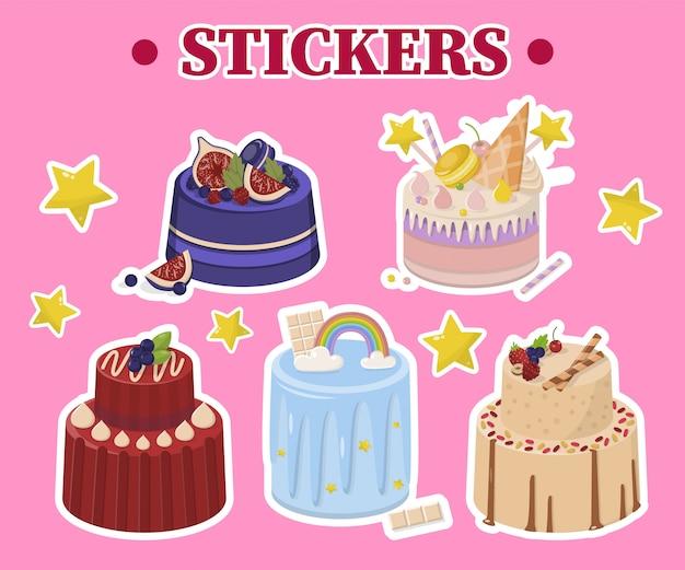 Insieme del fumetto di adesivi di torte e stelle di festa
