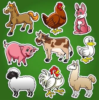 Insieme del fumetto di animali da fattoria