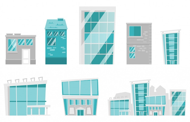Insieme del fumetto di edifici moderni