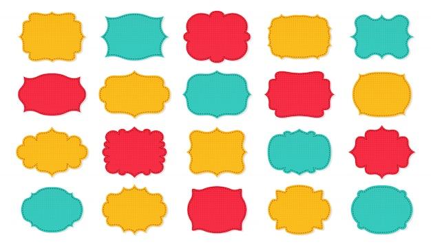 Insieme del fumetto di patch cornici etichetta. tag adesivo design scrapbook. collezione di cornici decorative vuote con motivo, cucito a strati. silhouette di colore, vari banner di forma. illustrazione isolata
