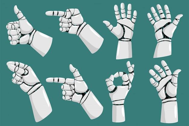 Insieme del fumetto di vettore delle mani del robot isolato su fondo bianco.