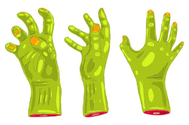 Insieme del fumetto di vettore delle mani di zombie isolato su uno spazio bianco.