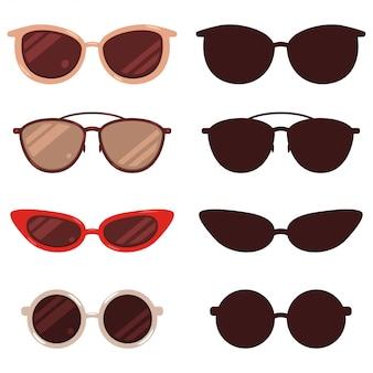 Insieme del fumetto e della siluetta degli occhiali da sole isolato su fondo bianco.