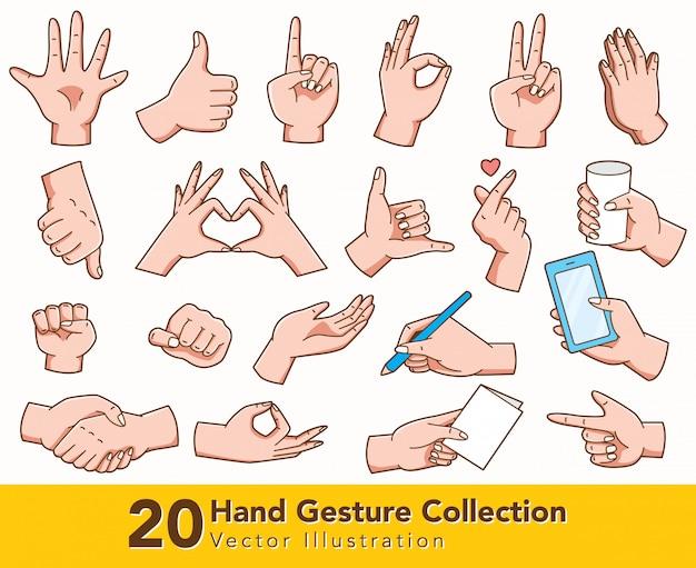 Insieme del gesto di mano isolato su bianco