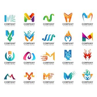 Insieme del logo della lettera m, icone di identità di affari, raccolta astratta del logo della lettera m.