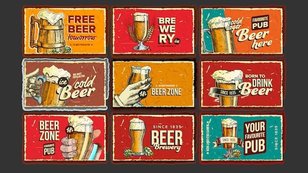 Insieme del manifesto di pubblicità della raccolta della birra