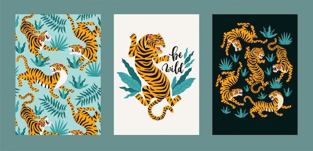 Insieme del manifesto di vettore di tigri e foglie tropicali.