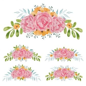 Insieme del mazzo del fiore rosa dipinto a mano dell'acquerello