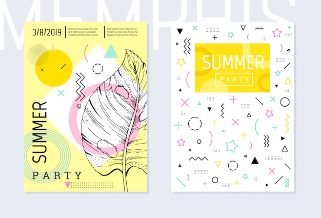 Insieme del modello del manifesto del partito di estate, stile geometrico di memphis. volantino alla moda con citazione tipo.