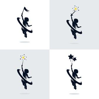 Insieme del modello dell'illustrazione di progettazione di sogno dei bambini