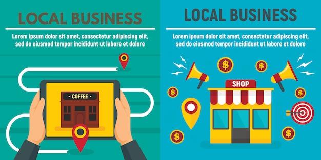 Insieme del modello dell'insegna del negozio di affari locali della città, illustrazione piana di stile