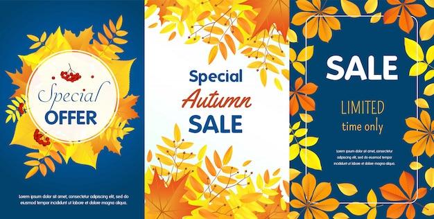 Insieme del modello dell'insegna di vendita di autunno, stile piano
