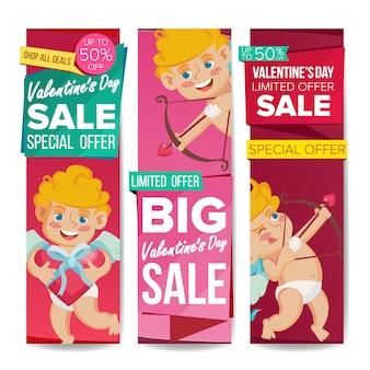 Insieme del modello dell'insegna di vendita di san valentino