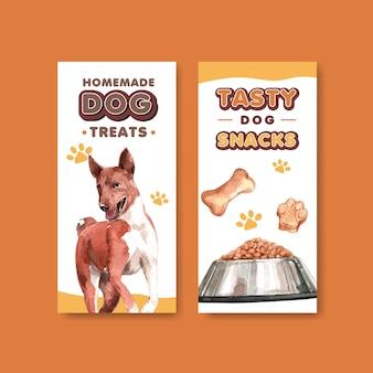 Insieme del modello dell'opuscolo della pubblicità del cane dell'acquerello