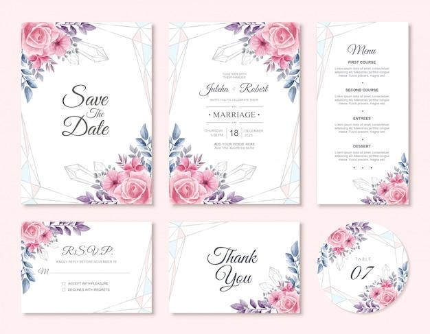 Insieme del modello della carta dell'invito di nozze floreale dell'acquerello
