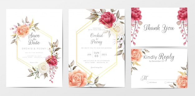 Insieme del modello delle carte dell'invito di nozze floreale d'annata