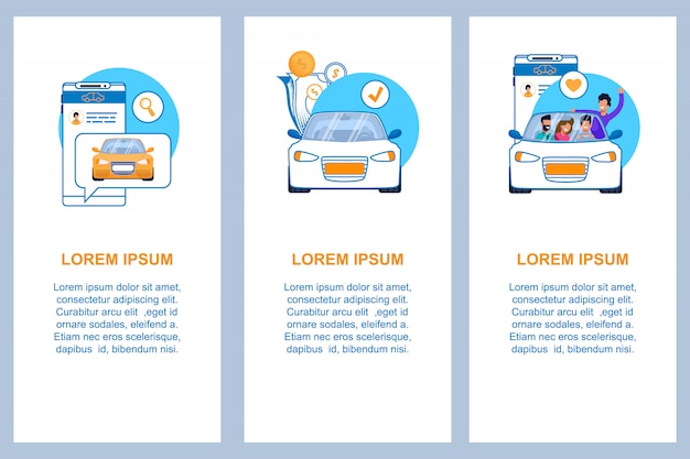 Insieme del modello di banner piatto verticale di servizio auto. illustrazione del concetto di affari di guida automobilistica moderna. car sharing, carpooling o taxi pubblicità. applicazione per telefono cellulare con chat per ordine.
