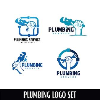 Insieme del modello di disegni di logo di servizio dell'impianto idraulico