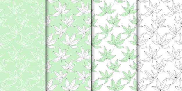 Insieme del modello di foglie verdi.