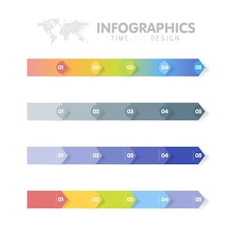 Insieme del modello di infographics di affari. cronologia con 5 passaggi freccia, cinque opzioni numeriche.