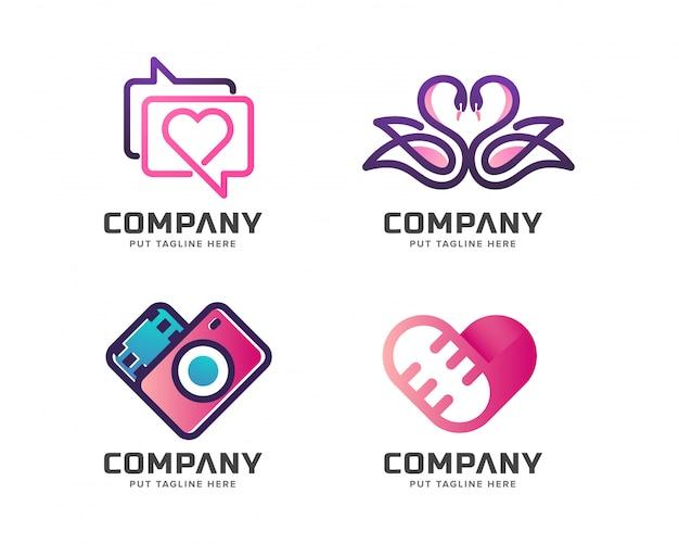 Insieme del modello di logo di media di amore di affari