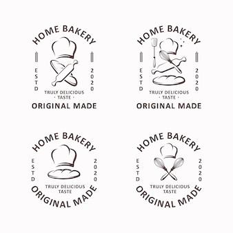 Insieme del modello di logo di panetteria domestica