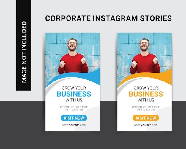 Insieme del modello di storie del instagram di affari corporativi