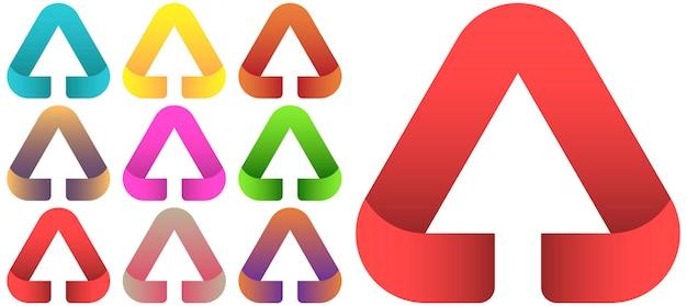 Insieme del modello di vettore di progettazione di logo della freccia.