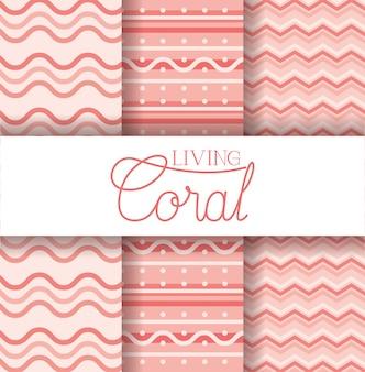 Insieme del modello senza cuciture corallo vivente