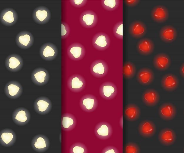 Insieme del modello senza cuciture di san valentino con il cuore del lampo