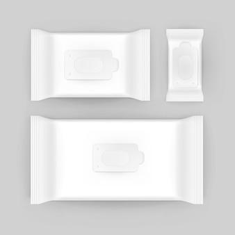 Insieme del pacchetto d'imballaggio bianco in bianco dei tovaglioli delle salviettine umidificate su fondo