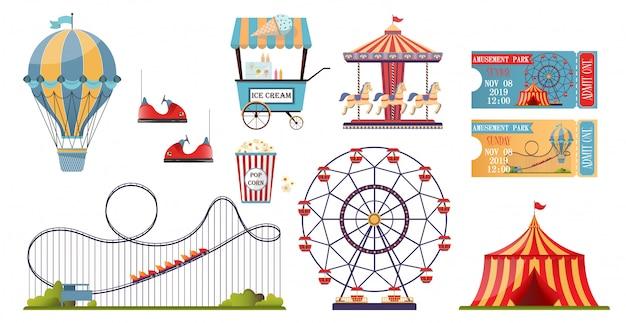 Insieme del parco di divertimenti con gli elementi piani isolati su fondo bianco.