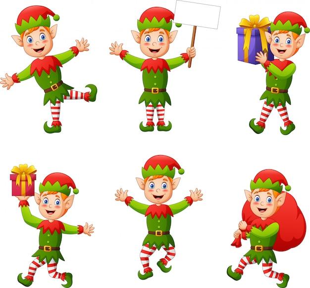 Insieme del personaggio dei cartoni animati dei bambini degli elfi isolato su bianco