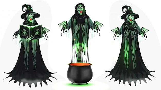 Insieme del personaggio dei cartoni animati della strega con il libro magico e calderone su bianco.