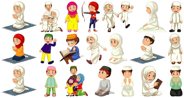 Insieme del personaggio dei cartoni animati musulmano differente della gente isolato su fondo bianco