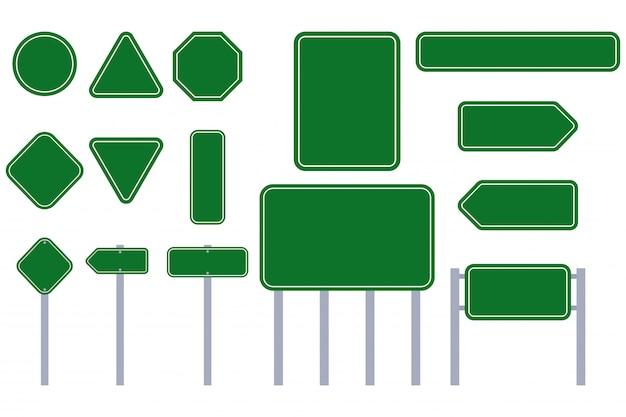 Insieme del piano di vettore del segno verde della strada isolato su un fondo bianco.