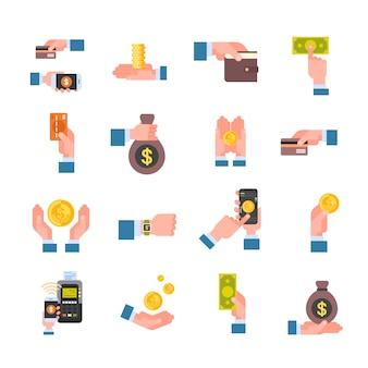Insieme del portafoglio elettronico delle icone finanziarie e del concetto mobile digitale di pagamento