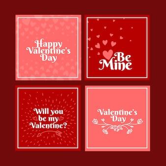 Insieme del post di instagram di vendita di san valentino