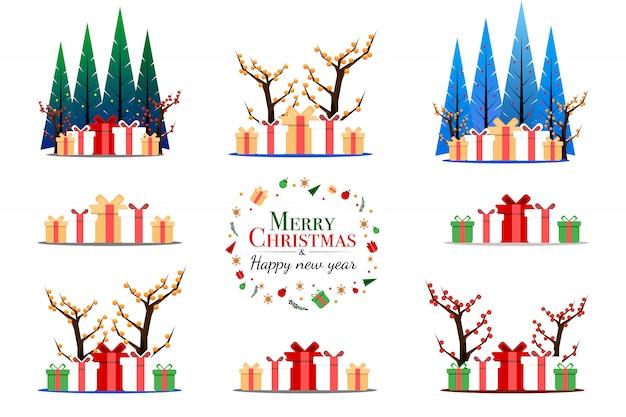 Insieme del regalo di fantasia e albero di pino nel concetto di festival di natale