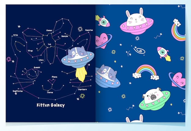 Insieme del reticolo disegnato a mano carino gatto galassia