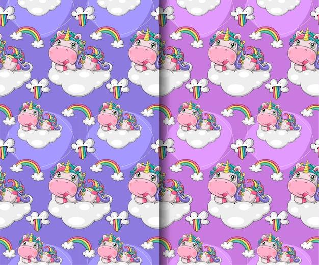 Insieme del reticolo senza giunte di unicorno simpatico cartone animato disegnato a mano