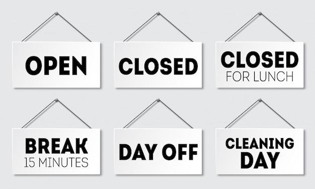 Insieme del segno realistico della porta con ombra. cartello con una corda. aperto, chiuso a pranzo, pausa, giorno libero, giorno di pulizia