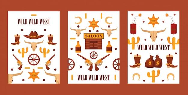 Insieme del selvaggio west delle insegne con le icone isolate, illustrazione. simboli di stile cartone animato di western western, avventure da cowboy.
