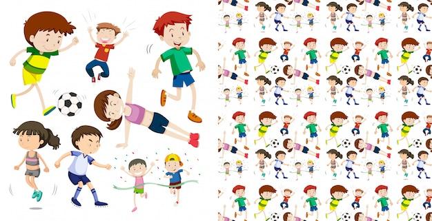Insieme del tema di oggetti isolati bambini sportivi senza soluzione di continuità