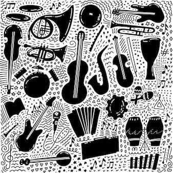 Insieme del tema musicale disegnato a mano isolato su fondo bianco, insieme nero di scarabocchio del tema degli strumenti musicali.