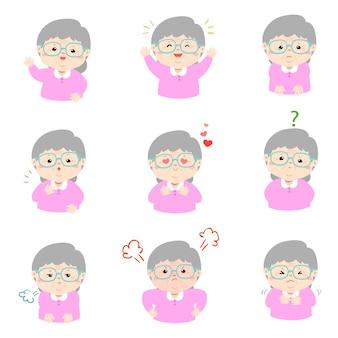 Insieme del vettore del fumetto di espressione faccia nonna.