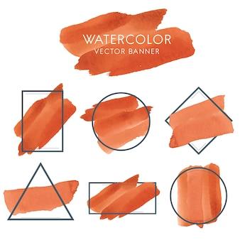 Insieme del vettore di disegno della bandiera dell'acquerello arancione