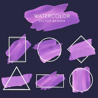 Insieme del vettore di disegno della bandiera dell'acquerello viola