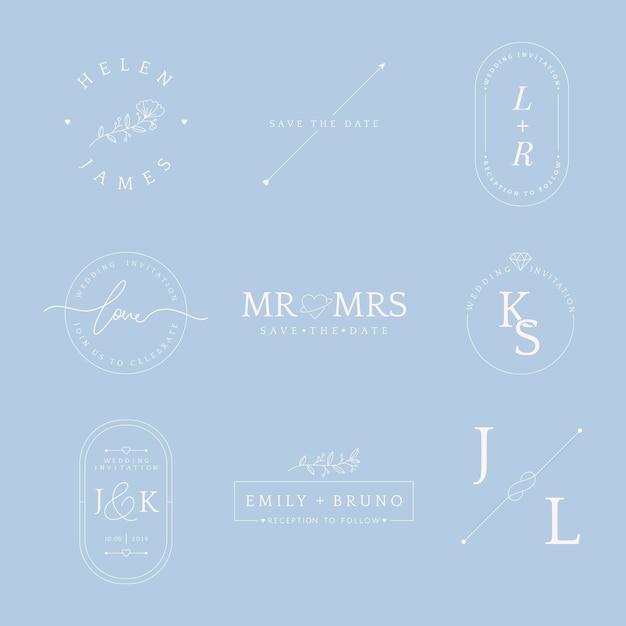 Insieme del vettore di progettazione del distintivo dell'invito di nozze